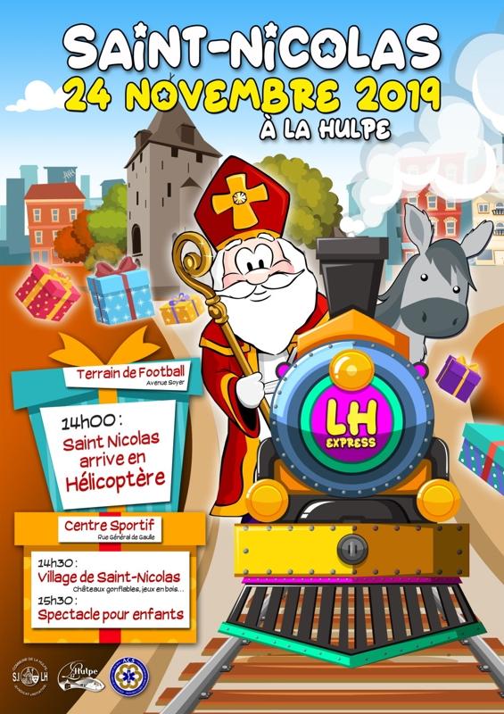 14h : Saint Nicolas arrive en hélicoptère ; 14h30 : village de Saint Nicolas (château gonflable, jeux en bois...) ; 15h30 : spectacle pour enfants